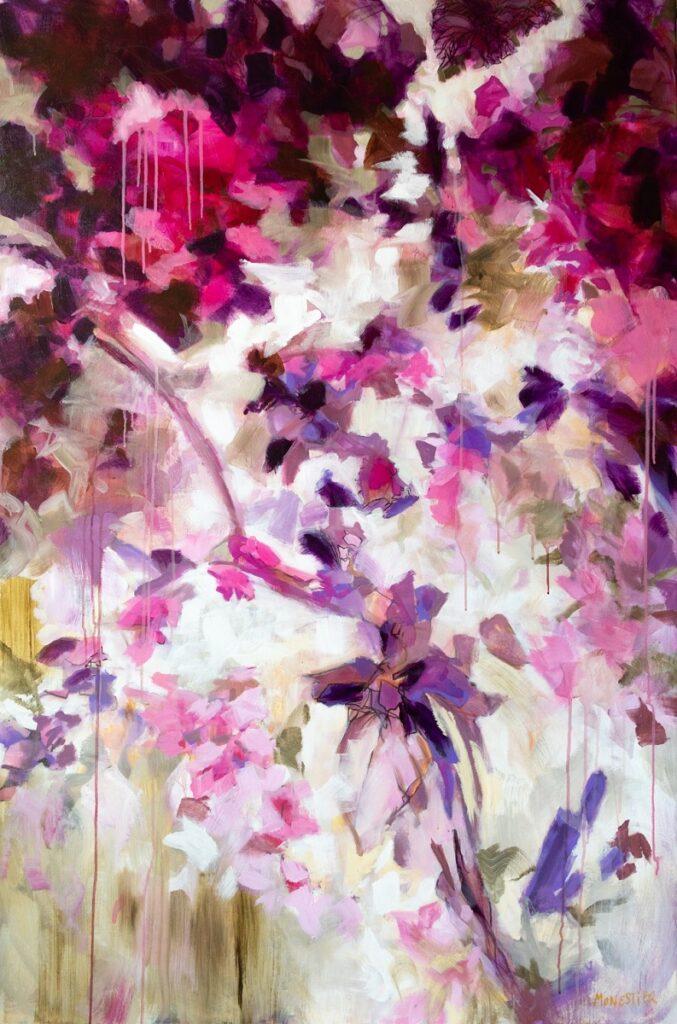 Paréidolie en rose et violet, acrylique et marqueur sur toile 150X100 cm