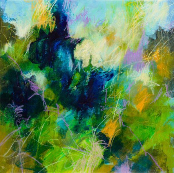 Rêve de printemps, acrylique et pastels à la cire sur toile, 6