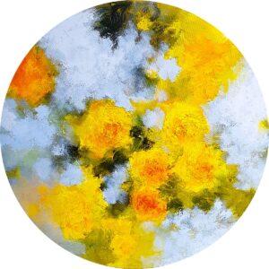 Tondo aux roses jaunes, huile sur toile ronde, 50cm Ø