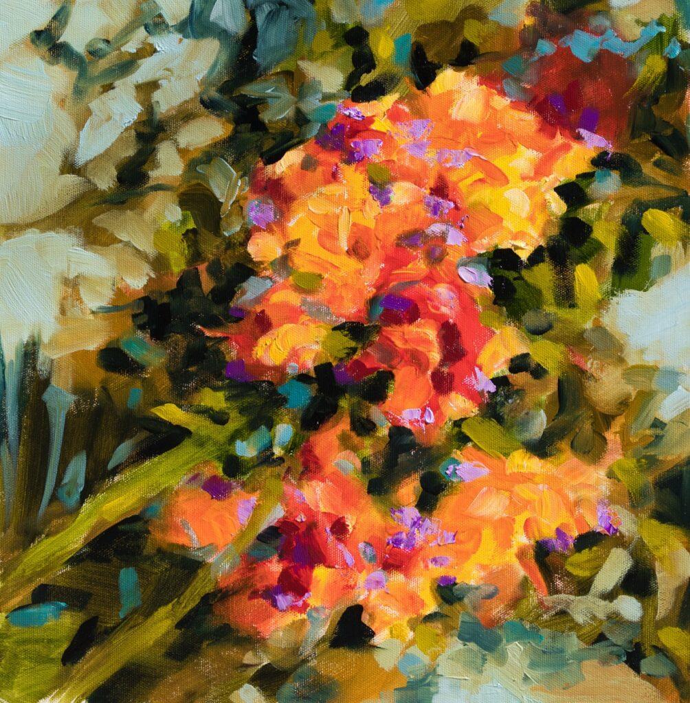 les glaieuls, huile sur toile, 38,5X39 cm