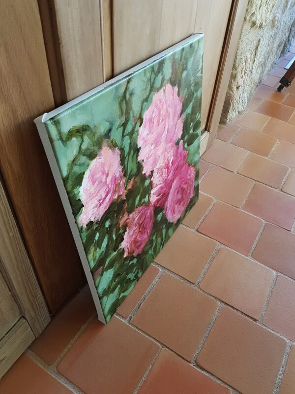 Roses roses huile sur toile 50X50 cm