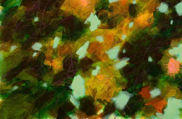 Branches fleuries en vert et orange, acrylique sur toile, 140X90cm