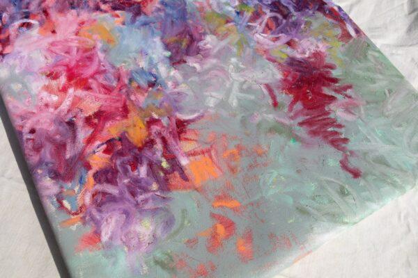 Pink and mint floral oil stick huile sur toile 40X100 cm Fabienn