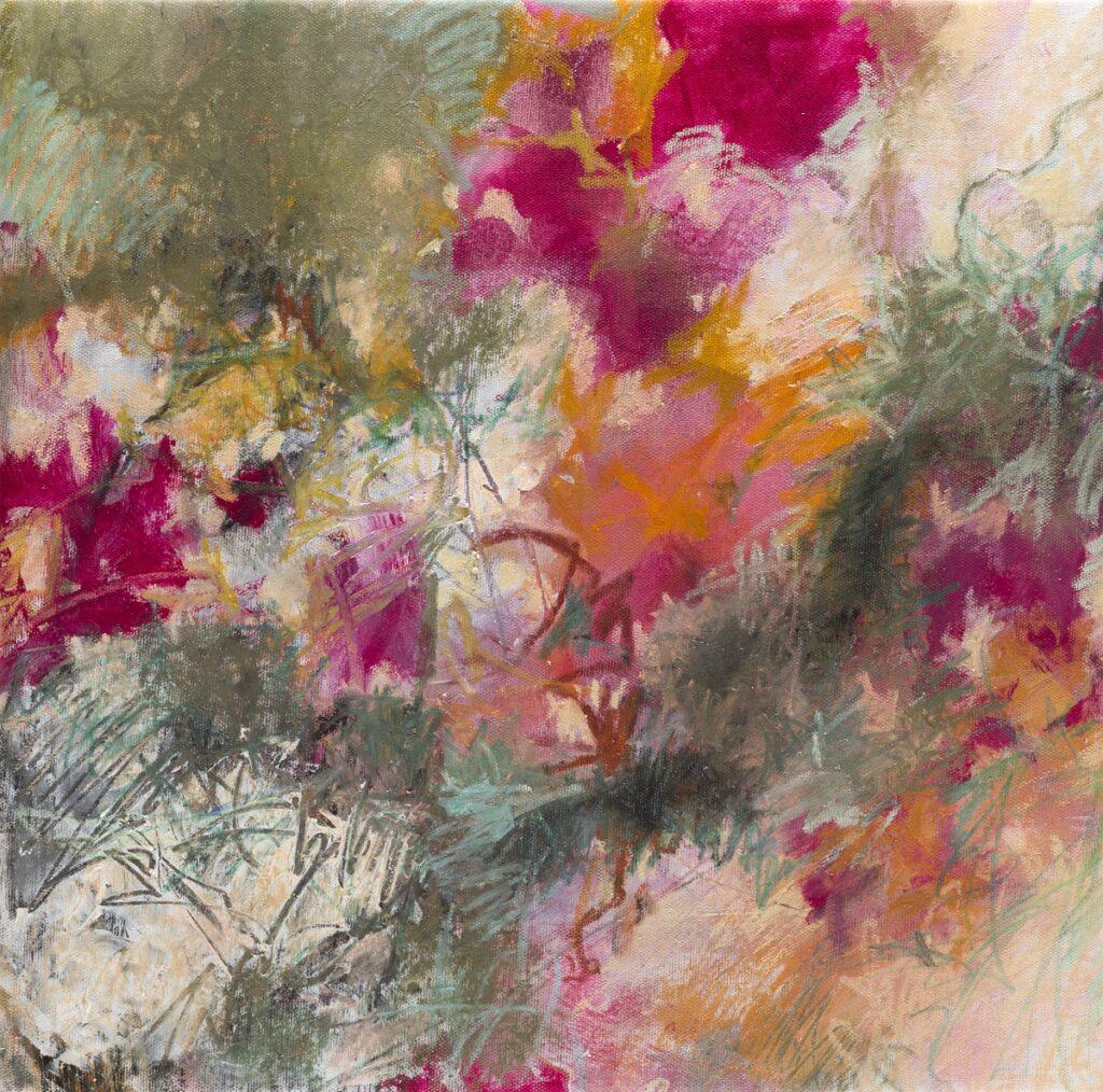 vivacité pastels gras et acrylique sur toile 40X40 cm